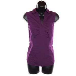RICKI'S Sleeveless V-Neck Top Cotton Blouse Fitted Ruching Purple Zip Closure 6